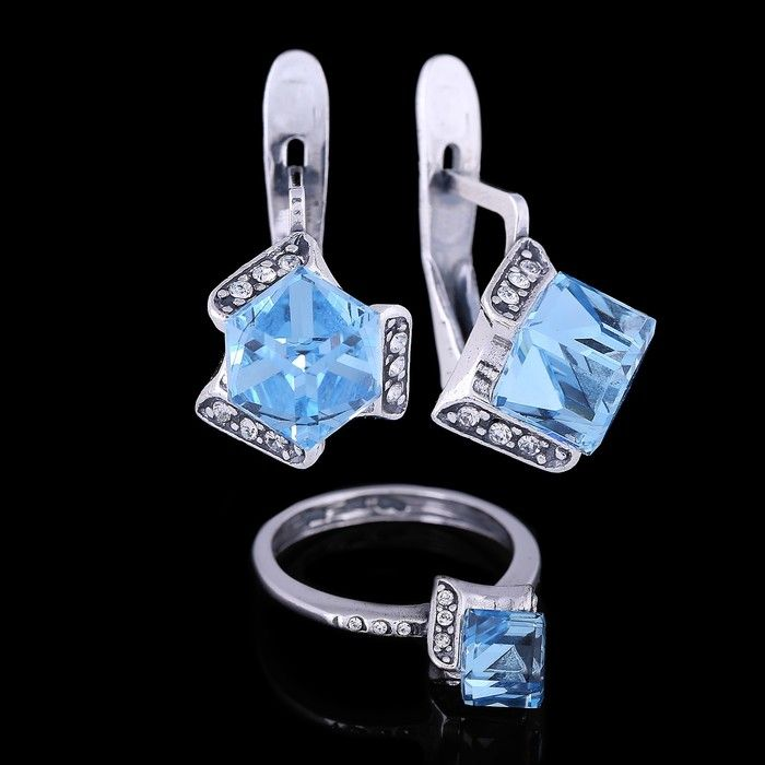 """Гарнитур """"Орест"""", размер 18, цвет голубой в чернёном серебре"""