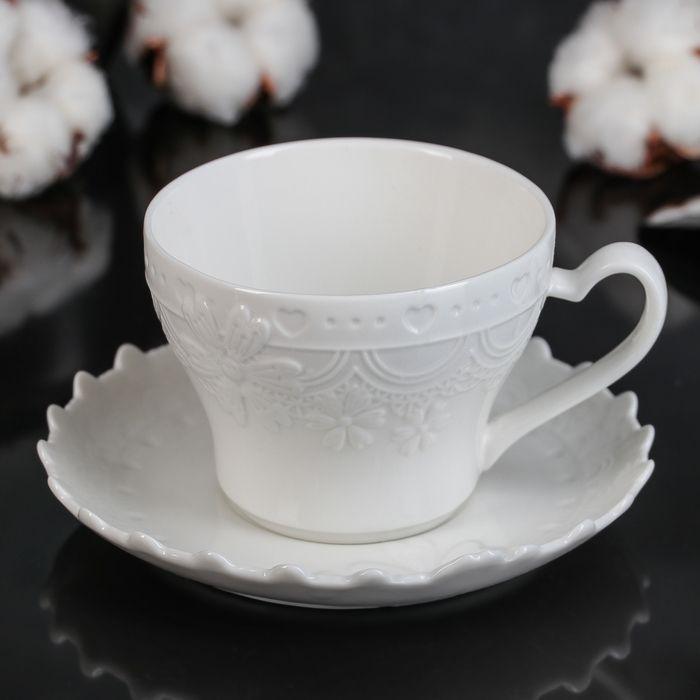 """Чайная пара """"Романтика"""", блюдце 13 см, цвет белый"""