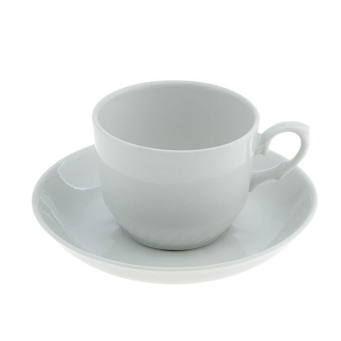 """Чайная пара """"Кирмаш"""": чашка чайная 250 мл, блюдце d=15 см, цвет белый"""