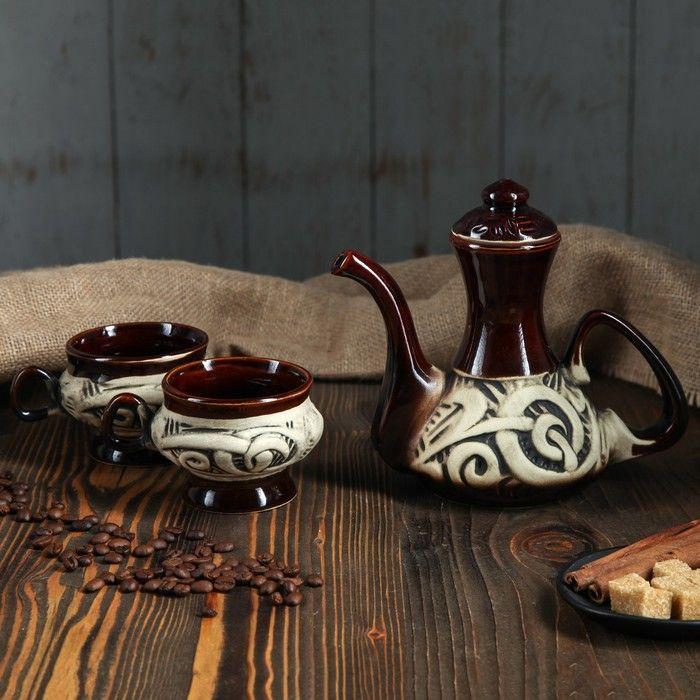 """Кофейный набор """"Кофе вдвоем"""" 0,7 л/ 0,35 л"""