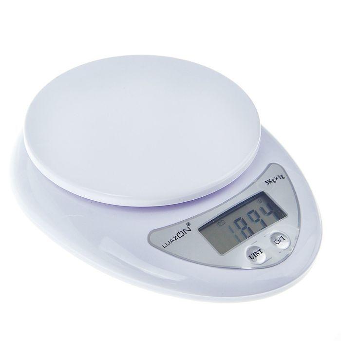 Весы электронные кухонные LuazON LVK-501, до 5 кг, белые