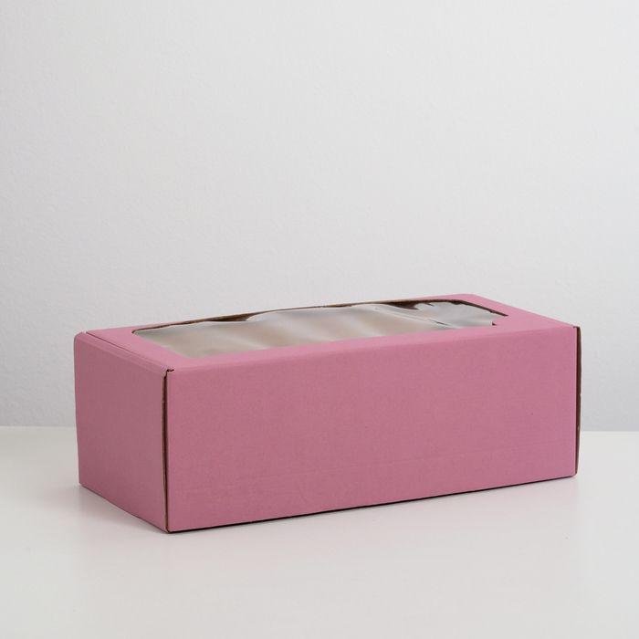 Коробка самосборная, с окном, сиреневая, 16 х 35 х 12 см
