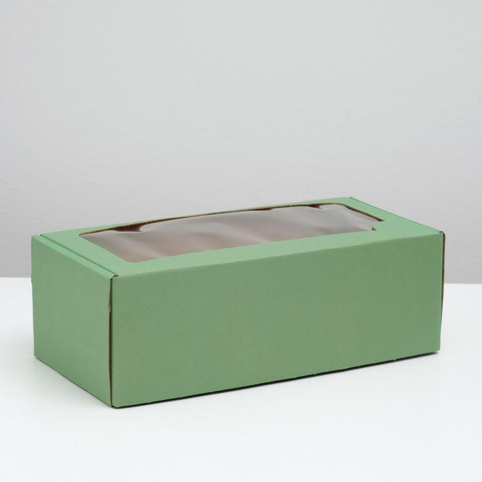 Коробка самосборная, с окном, мятная, 16 х 35 х 12 см