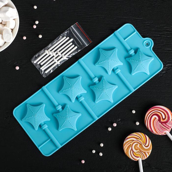 "Форма для леденцов и мороженого, 6 ячеек 9,5х24х1 см ""Звездочет"", цвета МИКС"