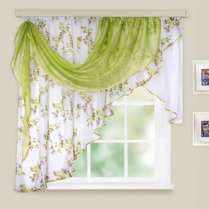 Комплект штор для кухни «Иллюзия», 300х150 см, цвет зелёный