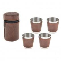 Набор рюмок в коричневом чехле, 4 рюмки