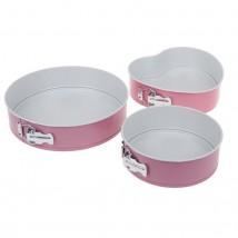 """Набор разъёмных форм для выпечки с керамическим покрытием 3 шт, 20/23/28 см """"Флёри. Круг"""", цвет розовый"""