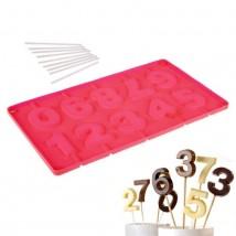 """Форма для леденцов и мороженого, 10 ячеек, 29х17х1 см """"Арифметика"""", палочки в комплекте, цвет МИКС"""