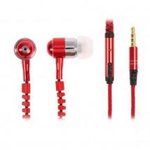 Наушники Luazon, микрофон, провод-молния, тканевая оплетка, корпус металл, красные