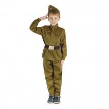 Маскарадный костюм военного для мальчика с пилоткой, ремень рост 152, размер 40