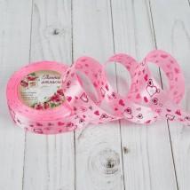 """Лента атласная """"Сердца"""", 25мм, 23±1м, №004, цвет светло-розовый"""