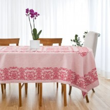 """Столовый набор """"Этель"""" (скатерть 150х250 см, салфетки 45х45 см - 8 шт.) цвет бордо, хл. с ВМГО"""